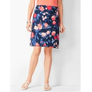 Talbots Canvas A Line Floral Skirt Blue 14